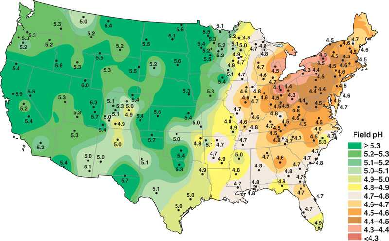 map of the acid rain concentrations of the united states